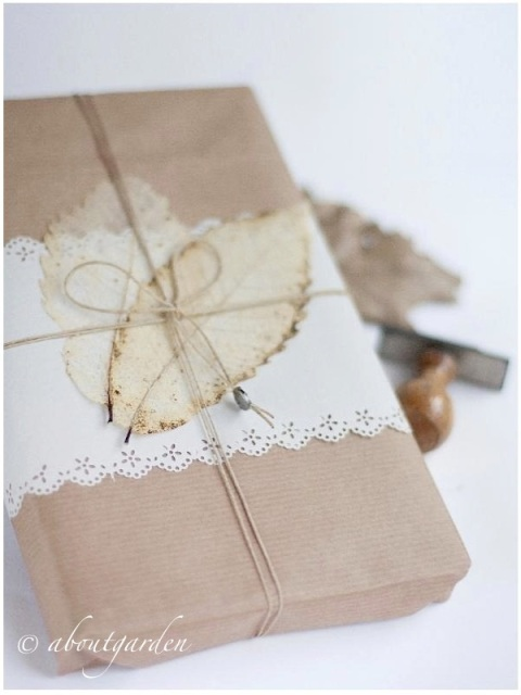 Gift with skeleton leaf