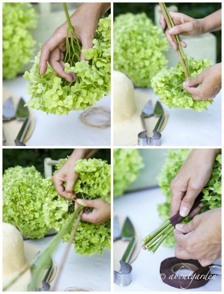 Collage DIY decoration hydrangea topiary
