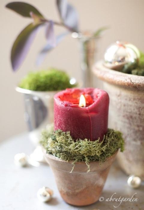 vasi muschio con candela