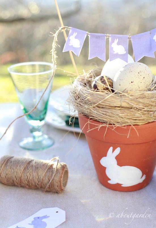 Decorazione country per la tavola di pasqua aboutgarden - Lettere stampabili del coniglietto di pasqua ...