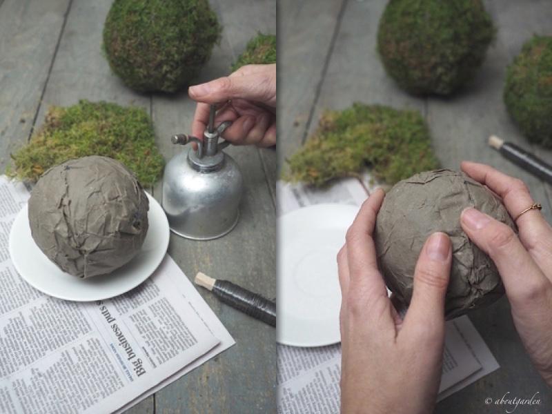 bagnare carta sfera di muschio